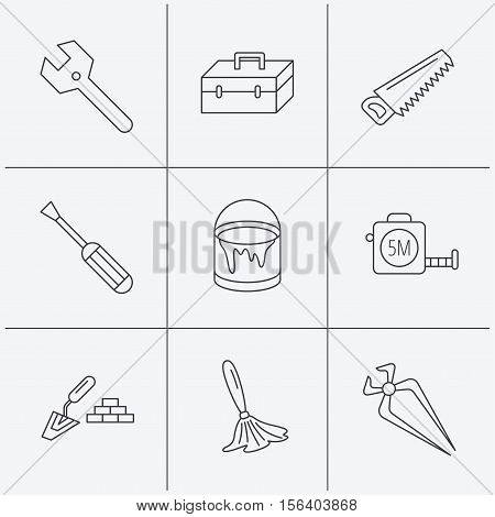 Wrench key, screwdriver and paint brush icons. Toolbox, nippers and saw linear signs. Finishing spatula icon. Linear icons on white background. Vector