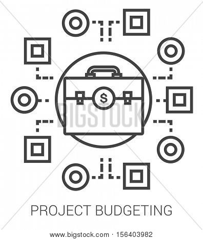 Project budgeting infographic metaphor with line icons. Project budgeting concept for website and infographics. Vector line art icon isolated on white background.