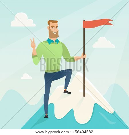 Businessman achieved flag on the top of mountain. Businessman celebrating his business achievement on the peak of mountain. Business achievement concept. Vector flat design illustration. Square layout