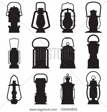 Camping lantern silhouette set isolated on white background. Different oil lamp outline collection. Modern and retro lanterns flat vector icons. Handle camping lanterns and gas lamps silhouettes.