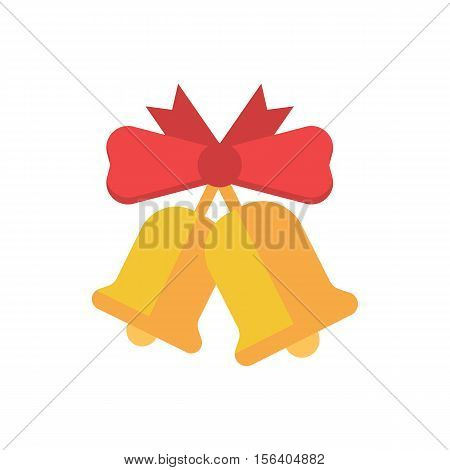 Christmas bell with red ribbon bow flat design illustration. Hand jingle bell vector icon for website and applications.