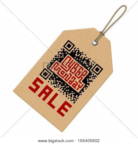 Cyber Monday Sale Lettering with QR-code on Price Tag. Eps8. RGB. Global colors