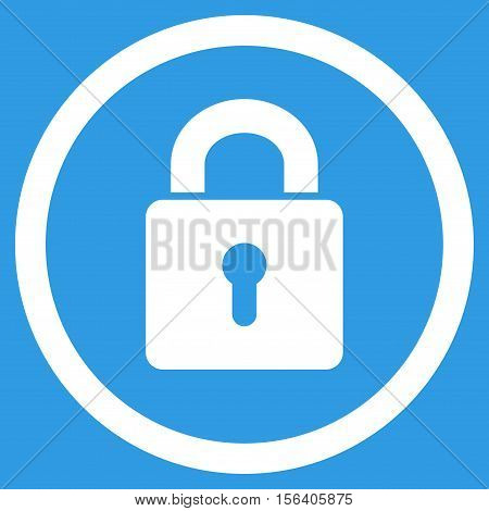 Lock Keyhole vector rounded icon. Image style is a flat icon symbol inside a circle, white color, blue background.