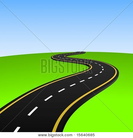 Vector illustration of abstract highway going to horizon. poster