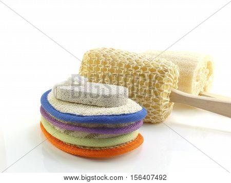 Group of bath puff and loofah spa kit