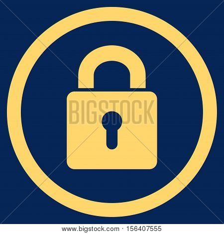 Lock Keyhole vector rounded icon. Image style is a flat icon symbol inside a circle, yellow color, blue background.