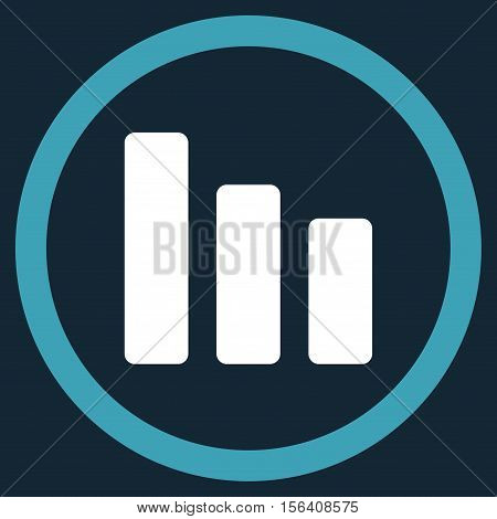 Bar Chart Decrease vector bicolor rounded icon. Image style is a flat icon symbol inside a circle, blue and white colors, dark blue background.