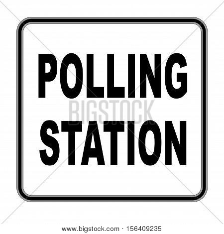 A polling station sign over a white background