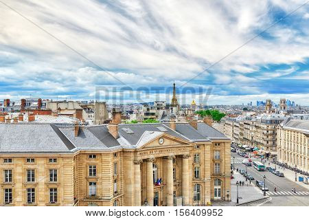 Beautiful Panoramic View Of Paris From The Roof Of The Pantheon. View On University Of Paris.