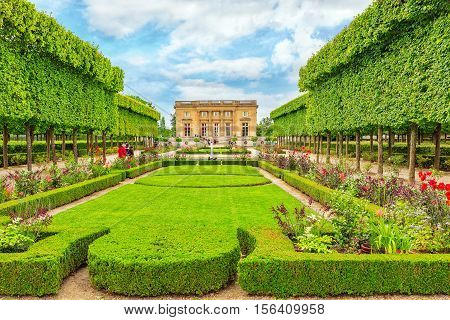 Versailles, France - July 02, 2016 : Petit Trianon-beautiful Garden In A Famous Palace Of Versailles