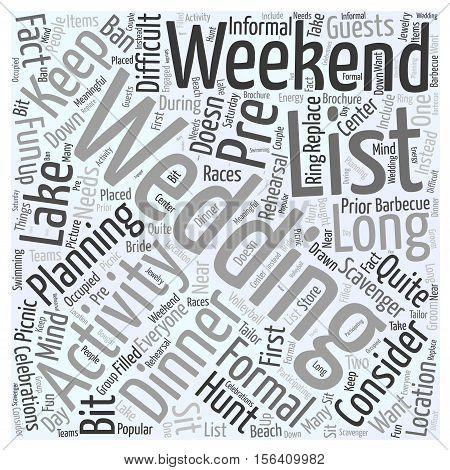 Wedding weekend activities text word cloud concept