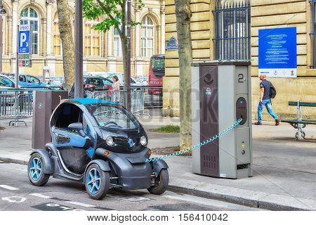 Paris, France - July 08, 2016 :small Electric Charge On Paris Street Charging On The Electrick Dock