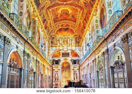 Fontainebleau, France - July 09, 2016 : Fontainebleau Palace Interiors. The Trinity Chapel. Chateau