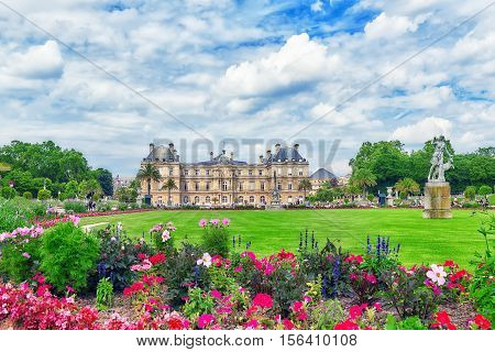 Luxembourg Palace And Park In Paris, The Jardin Du Luxembourg, One Of The Most Beautiful Gardens In
