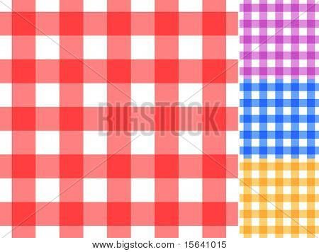 Seamless traditional tablecloth pattern in 4 colors. Easy editable EpS10 file.