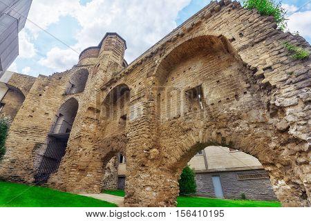 Old City Wall. Ruinas De Muralhas. Brussels, Belgium.