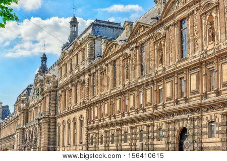 Paris, France - July 06, 2016 : Louvre Museum Riverside View. The Louvre Is The Biggest Museum In Wo