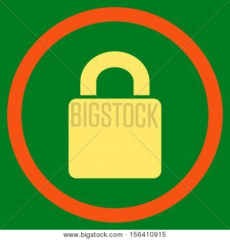 Lock vector bicolor rounded icon. Image style is a flat icon symbol inside a circle, orange and yellow colors, green background.