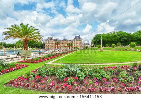 Paris, France - July 05, 2016 : Luxembourg Palace And Park In Paris With People, The Jardin Du Luxem