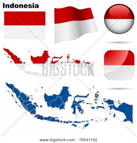 Indonesia vector set. Detailed country shape with region borders, flags and icons isolated on white background.