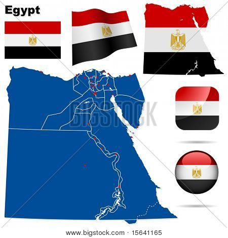 Egypt vector set. Detailed country shape with region borders, flags and icons isolated on white background.