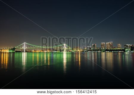 Nightview of Rainbow Bridge in Tokyo, Japan.