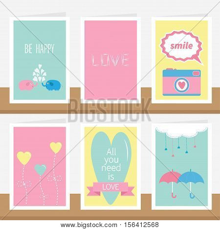 'All you need is love' quote text. Elephant family couple photocamera flower heart umbrella cloud dash line drops pink ribbon. Love greeting card set on shelf. Flat design. Vector illustration