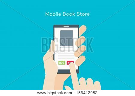 Hand holding smartphone with online mobile book store. Flat vector conceptual illustration.