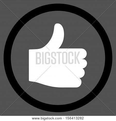 Thumb Up vector bicolor rounded icon. Image style is a flat icon symbol inside a circle, black and white colors, gray background.