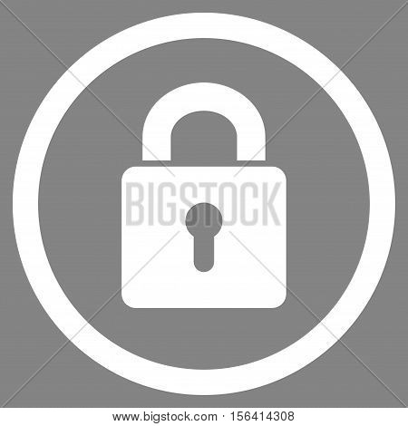 Lock Keyhole vector rounded icon. Image style is a flat icon symbol inside a circle, white color, gray background.