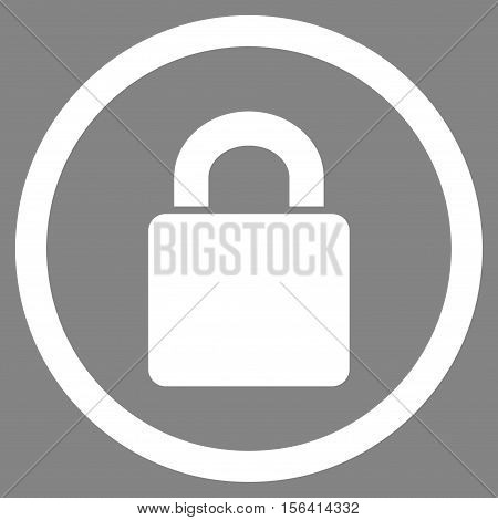 Lock vector rounded icon. Image style is a flat icon symbol inside a circle, white color, gray background.