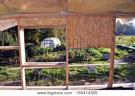 Insulating rural house wall with mineral rock wool