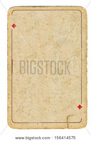Ancient used grunge playing card of diamonds empty background
