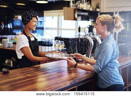 Waitress Giving Glasses Of Wines To Customer