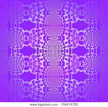 Abstract geometric seamless shiny background. Regular ellipses ornaments in purple shades with silver gray, centered and blurred.