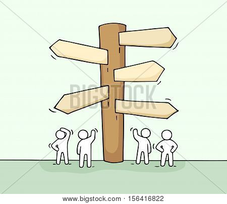 Sketch of working little people with road sign. Doodle cute miniature of signpost. Hand drawn cartoon vector illustration for business design and infographic.