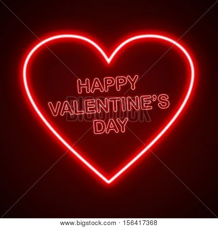 Happy Valentines Day Card Neon Style Background
