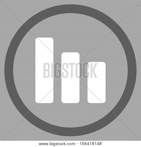Bar Chart Decrease vector bicolor rounded icon. Image style is a flat icon symbol inside a circle, dark gray and white colors, silver background.