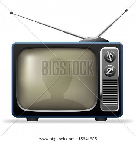 Retro TV set with viewer reflection.