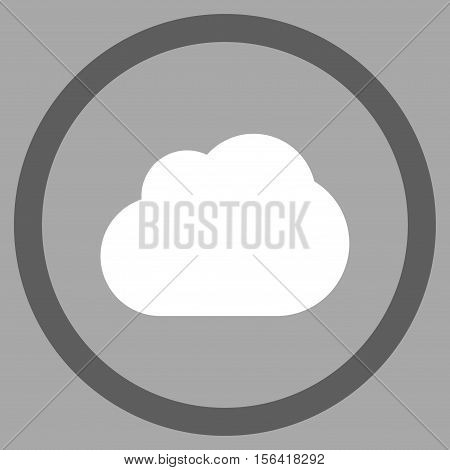 Cloud vector bicolor rounded icon. Image style is a flat icon symbol inside a circle, dark gray and white colors, silver background.