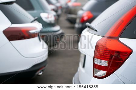 cars in the parking lot, abstract background