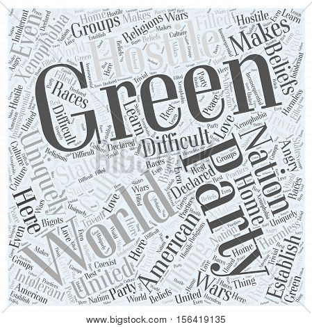 What is the Green Party word cloud concept text background