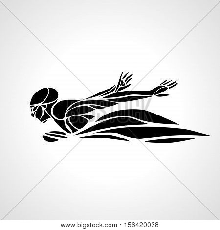 Professional Swimmer Butterfly Stroke Silhouette side view. Eps8