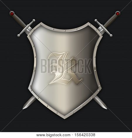 Silver riveted shield with two swords on black background.