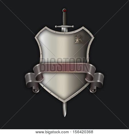 Medieval silver and riveted shiel with sword and ribbon on black background.