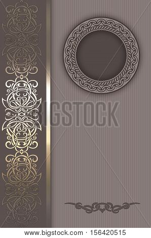 Vintage background with decorative borderframe and elegant old-fashioned ornament. Book cover design.