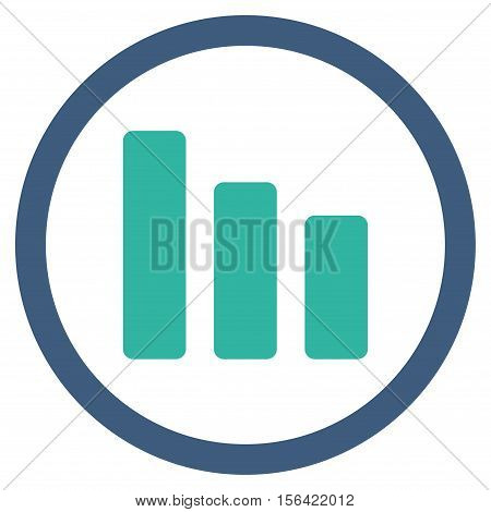 Bar Chart Decrease vector bicolor rounded icon. Image style is a flat icon symbol inside a circle, cobalt and cyan colors, white background.
