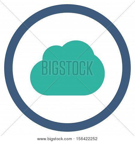 Cloud vector bicolor rounded icon. Image style is a flat icon symbol inside a circle, cobalt and cyan colors, white background.