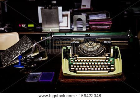 Vintage Typewriter And Old File