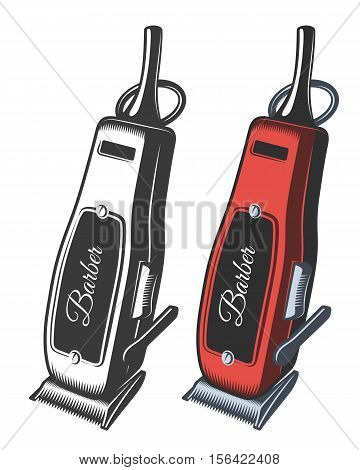 Illustration of hair clipper. Monochrome and color. Isolated on white.